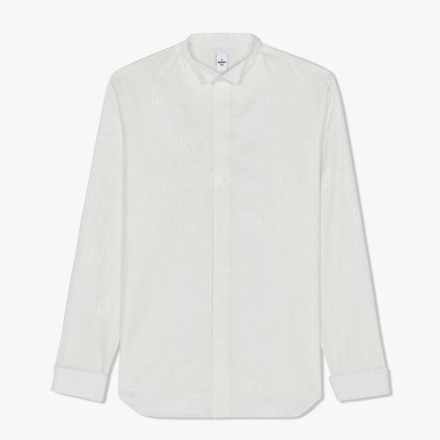 Slim-Fit Scritto Evening Cotton Shirt, BLANC OPTIQUE, hi-res