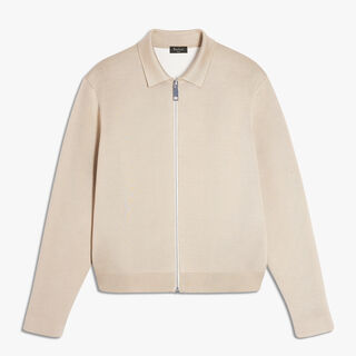 Silk and Cotton Zip-Up Jacket, GOLDEN CREAM, hi-res