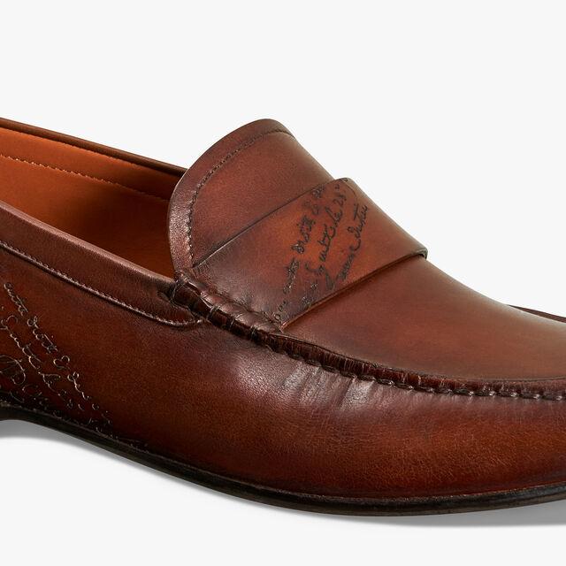Leandro Bari Scritto Calf Leather Loafer, MOGANO, hi-res