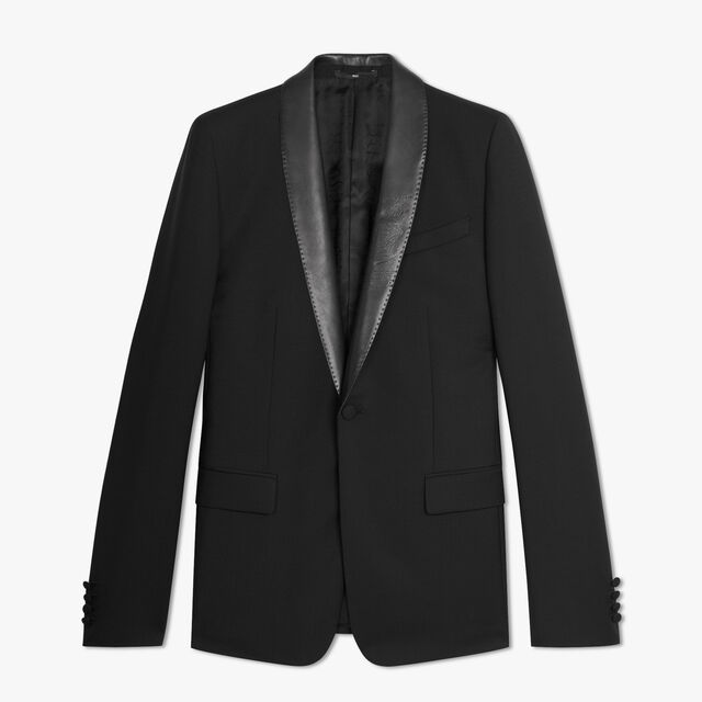 Wool & Mohair Lined Tailoring Jacket With Shawl Leather Collar, NOIR, hi-res
