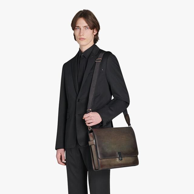 Prisme Large Leather Messenger Bag, ICE BROWN, hi-res