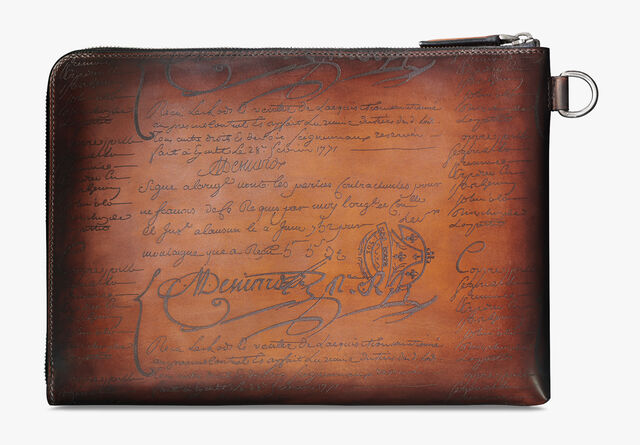 Nino Large Scritto Leather Patina Illusion Clutch, TOBACCO BIS, hi-res