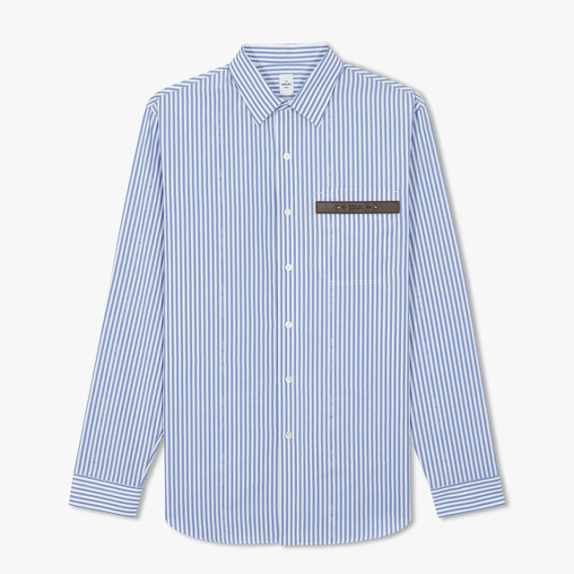 Striped Alessandro Shirt With Leather Detail