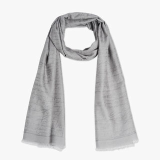 Cashmere-Blend Scritto Scarf, CLOUD GREY, hi-res