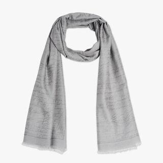 羊绒混纺Scritto围巾, CLOUD GREY, hi-res