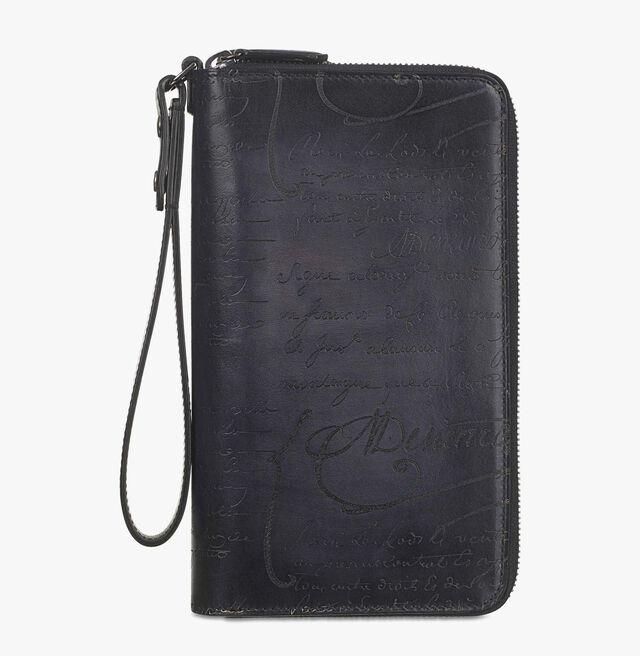 Tali Scritto Leather Long Zipped Wallet, NERO GRIGIO, hi-res