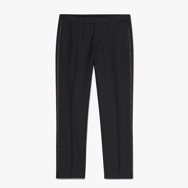 Pantalon De Smoking En Laine, NOIR, hi-res
