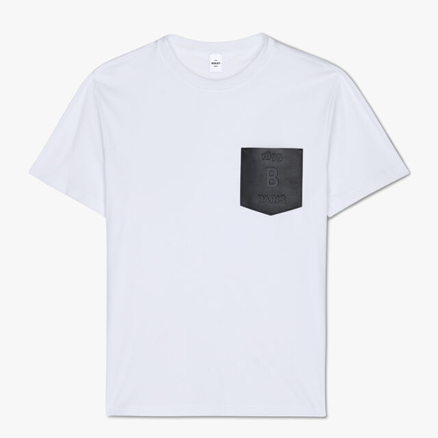 Regular-Fit Cotton T-Shirt With Leather Chest Pocket, BLANC OPTIQUE, hi-res