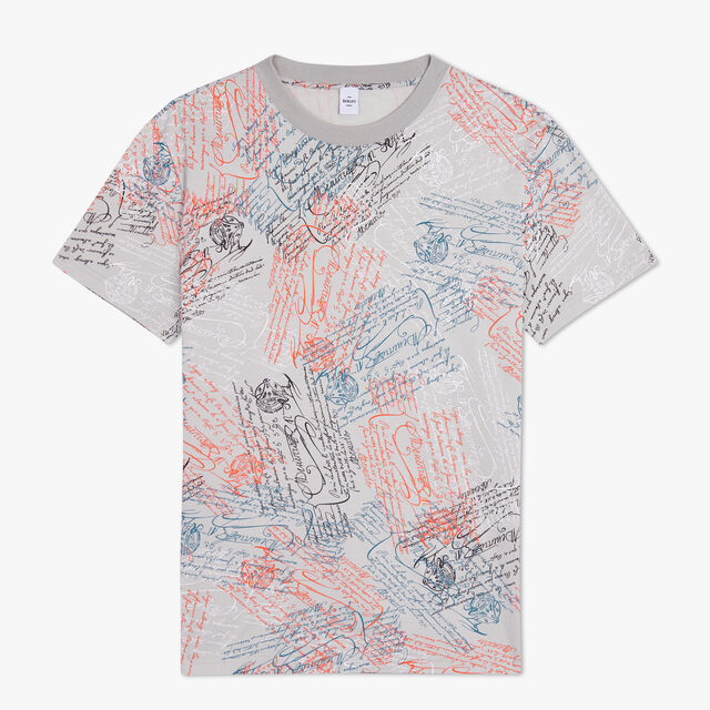 T-Shirt Imprimé All-Over, SCRITTO ICE GREY, hi-res