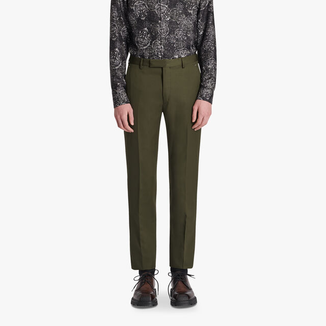 Regular Fit Wool Trousers, FOREST GREEN, hi-res