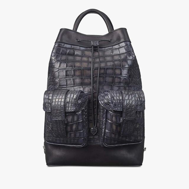 Horizon Medium Alligator Leather Backpack, MEDIUM FLANEL, hi-res