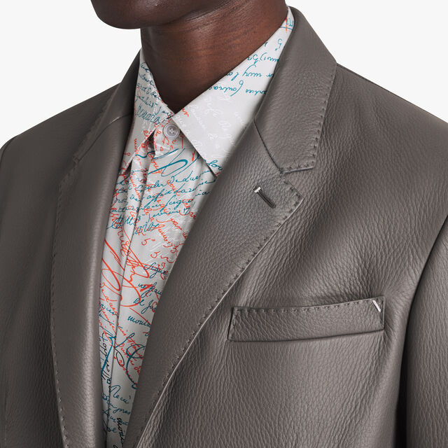 Leather Blazer Lined With Scritto, DARK LEAD, hi-res