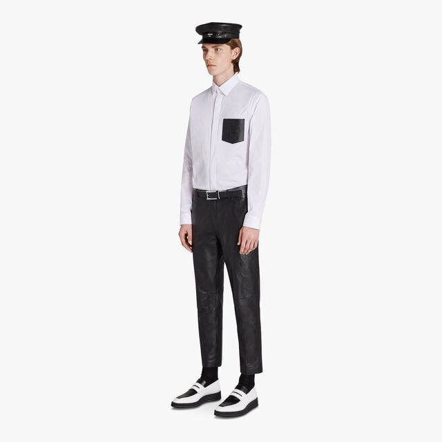 Cotton Shirt With Leather Pocket, BLANC OPTIQUE, hi-res