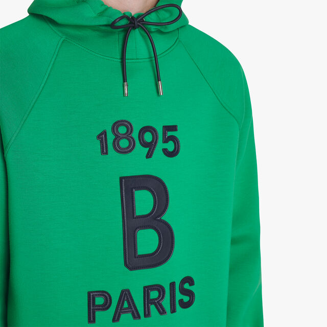 Hoodie Jersey Sweater With Leather Details, CLOVER GREEN / COSMIC BLUE, hi-res