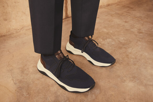 Shadow Knit Sneaker With Leather Details, NAVY, hi-res