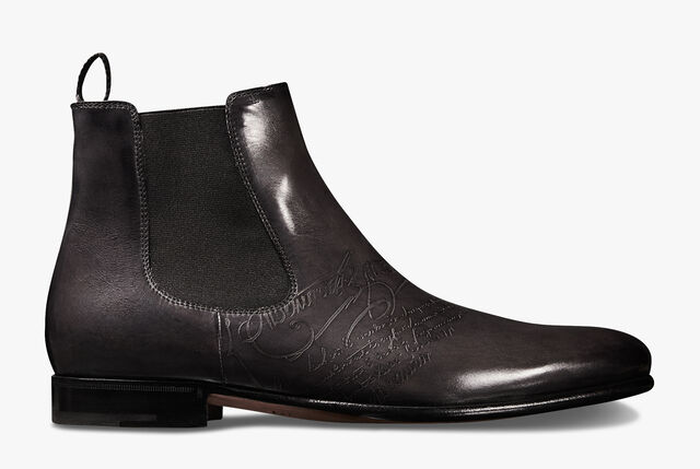 Cursive Galet Scritto Calf Leather Boot, NERO GRIGIO, hi-res