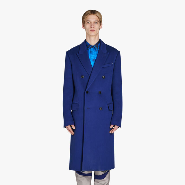 Long Formal Double Breasted Cashmere Coat, BLUE FLASH, hi-res