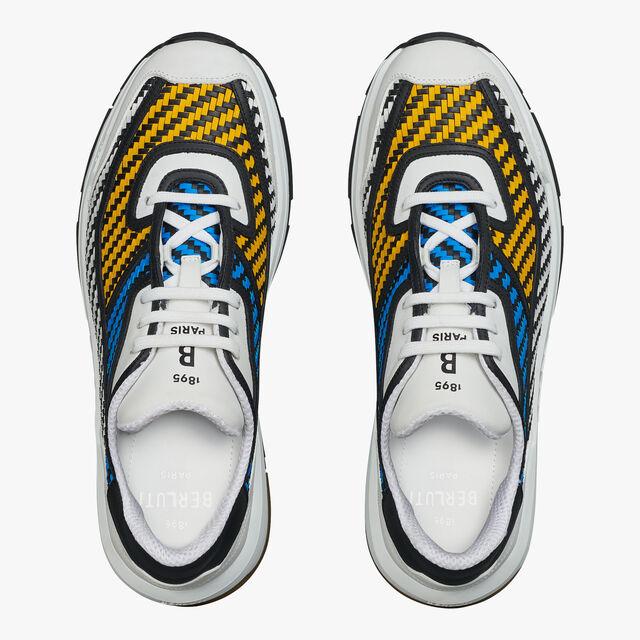 Pulse Braided Calf Sneaker, WHITE + BLUE + YELLOW, hi-res
