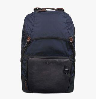 Hike-On Nylon & Leather Backpack, NAVY BLU, hi-res