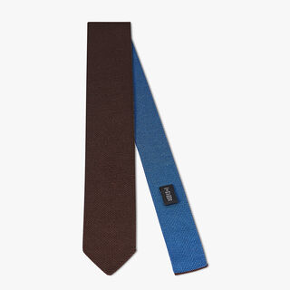 Two-Tone Silk Knit Tie, CHOCOLATE, hi-res