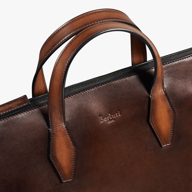 Perspective Medium Leather Briefcase, BRUN, hi-res