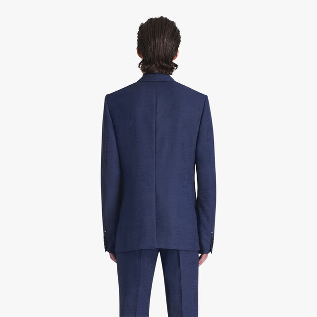 Jacquard Scritto Virgin Wool Jacket, MIDNIGHT BLUE, hi-res