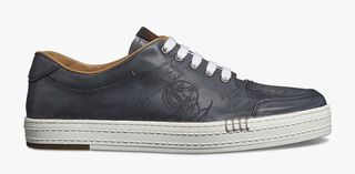 Playtime Palermo Engraved Calf Leather Sneaker, ALUMINIO, hi-res