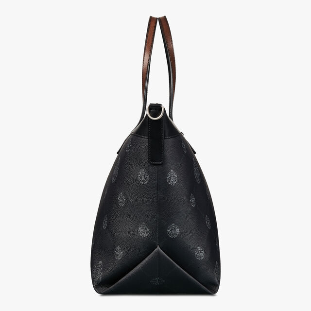 City Break Canvas and Leather Tote Bag, BLACK + TDM INTENSO, hi-res