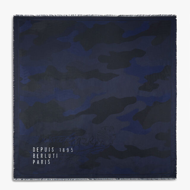 Wool-Blend Scritto Scarf, BLUE NAVY, hi-res