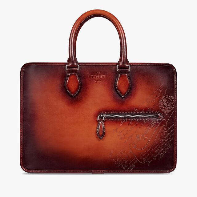 Un Jour Mini Scritto Swipe Leather Briefcase, TERRACOTTA, hi-res