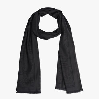 Cashmere-Blend Scritto Scarf, ANTHRACITE, hi-res