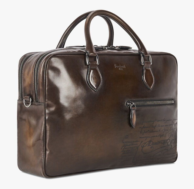F088 Large Scritto Leather Briefcase, TDM SCURO, hi-res