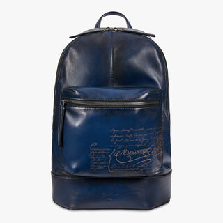 Volume Small Leather Backpack, BLU NOTTE, hi-res