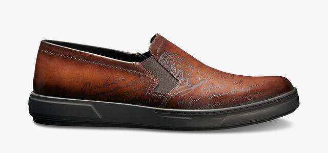 Tibeta Scritto Leather Slip On, BRUN, hi-res