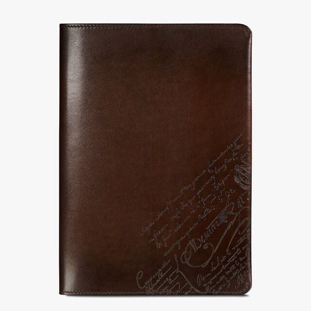 Epure Scritto Leather Notebook Cover, BRUN, hi-res