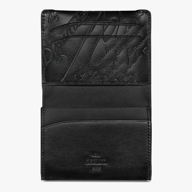Vision Scritto Leather Card Holder, BLACK, hi-res