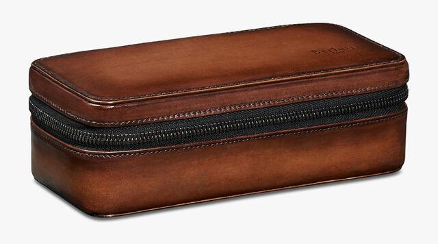 Venezia Calf Leather Travel Watch Case , BRUN, hi-res
