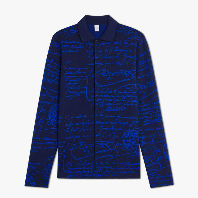 Jacquard Scritto Wool Knitted Cardigan, MIDNIGHT BLUE, hi-res