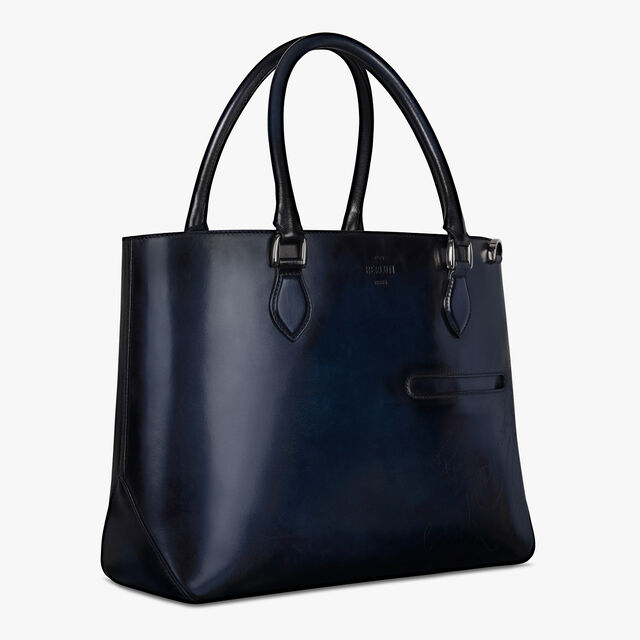 Toujours Scritto Leather Tote Bag, DEEP ROTHKO, hi-res