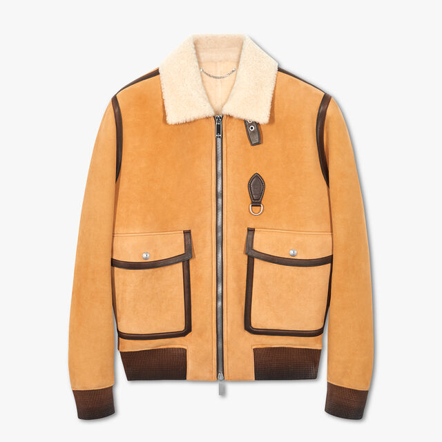 Shearling Flight Jacket With Patina Details, SEVILLE BEIGE, hi-res