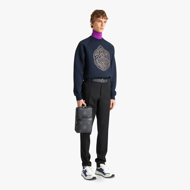Sweatshirt With Bonded Leather Crest, ULTRAMARINE/LEAD, hi-res