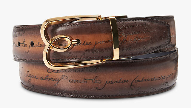 B Volute Reversible Scritto Leather Belt - 35 mm, NERO & TOBACCO BIS, hi-res