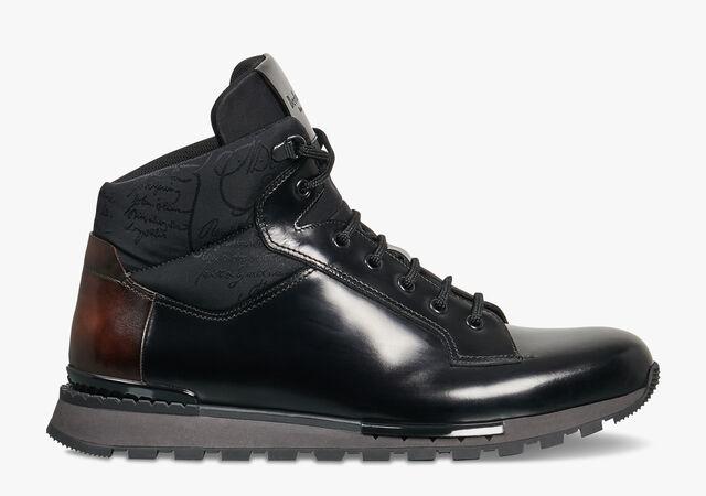 Fast Track Torino Glazed Calf Leather High-Top Sneaker, NERO, hi-res