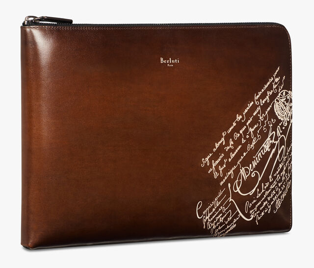Nino Large Scritto Leather Document Holder, BRUN+IVORY, hi-res