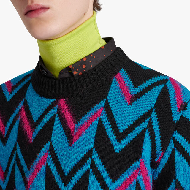Herringbone Knit Sweater, VIBRANT PINK, hi-res