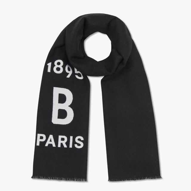 Rectangular Bicolor Wool Scarf With Logo, NOIR/OPTICAL WHITE, hi-res