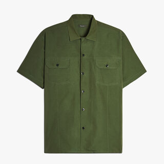 Cotton and Cashmere Bowling Shirt, OLIVE, hi-res