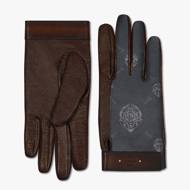 Signature Canvas And Lambskin Gloves, BLACK+TDM INTENSO, hi-res