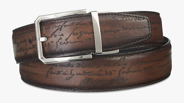 Versatile Reversible Scritto Leather Belt - 35 mm, NERO & TOBACCO BIS, hi-res