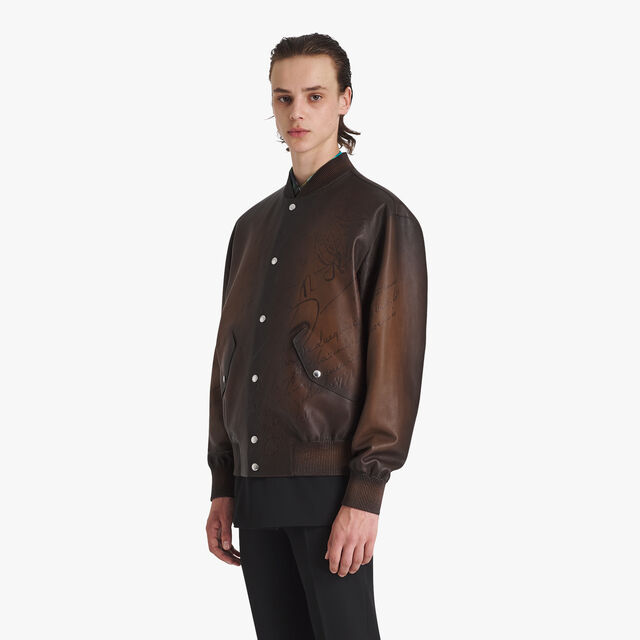 Scritto Patina Leather Bomber, BRUN, hi-res